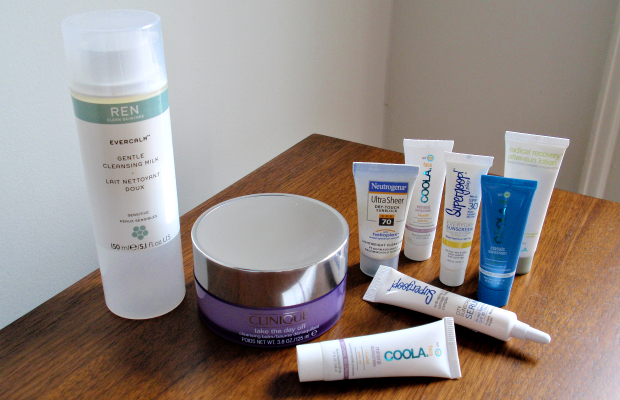 What's in my skin care travel bag? - cleansers and sunscreen